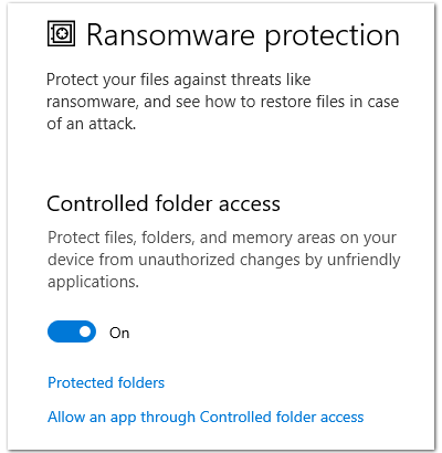 Windows 10 built-in ransomware protection